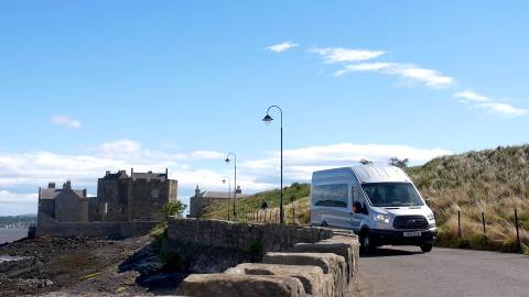 Boness Community Bus departing Blackness Castle