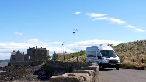 Boness Community Bus departing Blackness Castle